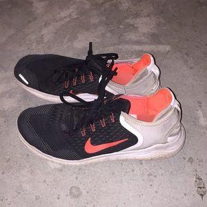 Nike Free RNs Orange Black and White